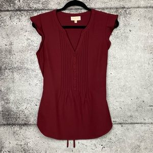 Modcloth // Cranberry Flutter Sleeve Blouse
